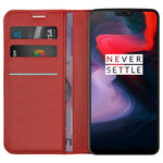 Leather Wallet Case & Card Holder Pouch for OnePlus 6 - Red