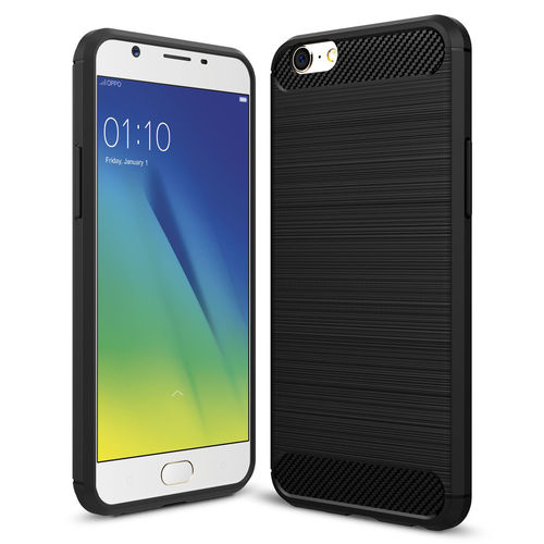 Flexi Slim Carbon Fibre Case for Oppo A57 / A39 - Brushed Black