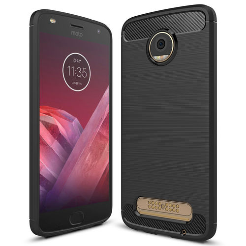Flexi Slim Carbon Fibre Case for Motorola Moto Z2 Play - Brushed Black