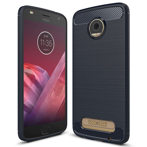 Flexi Slim Carbon Fibre Case for Motorola Moto Z2 Play - Brushed Blue