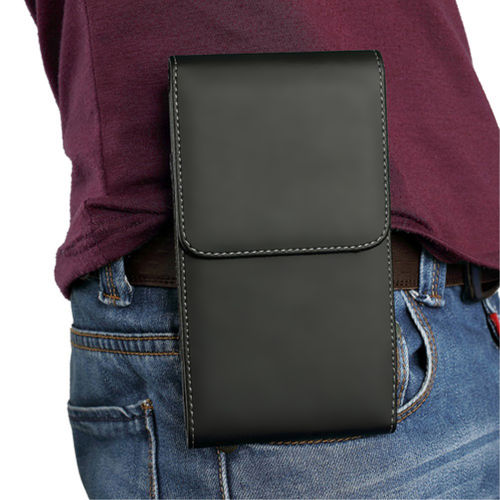 Executive (Medium) Vertical Leather Pouch / Belt Clip Case for Mobile Phone