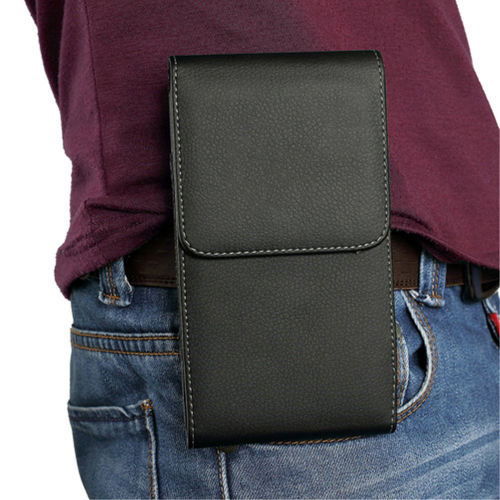 Executive XL Vertical Leather Pouch & Belt Clip Case for Mobile Phone