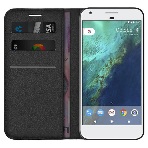 Leather Wallet Case & Card Holder Pouch for Google Pixel - Black