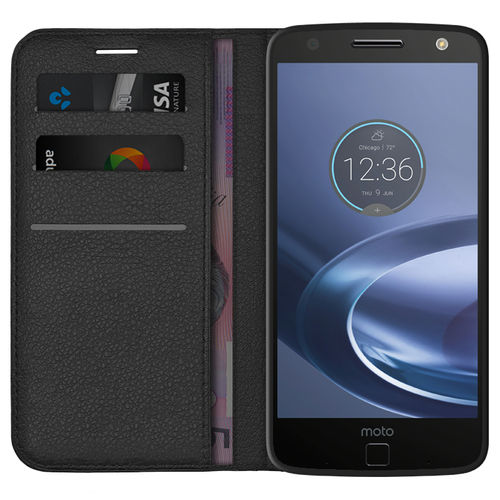 Leather Wallet Case & Card Holder Pouch for Motorola Moto Z Force - Black