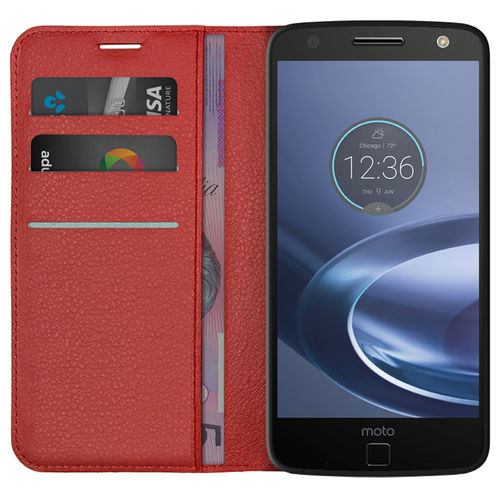 Leather Wallet Case & Card Holder Pouch for Motorola Moto Z Force - Red