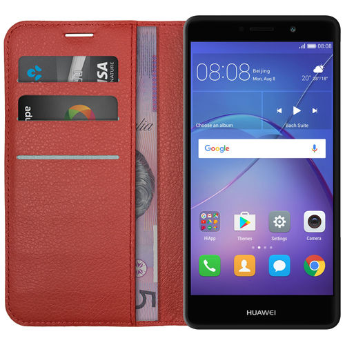 Leather Wallet Case & Card Holder Pouch for Huawei GR5 (2017) - Red