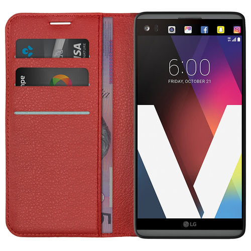 Leather Wallet Case & Card Holder Pouch for LG V20 - Red