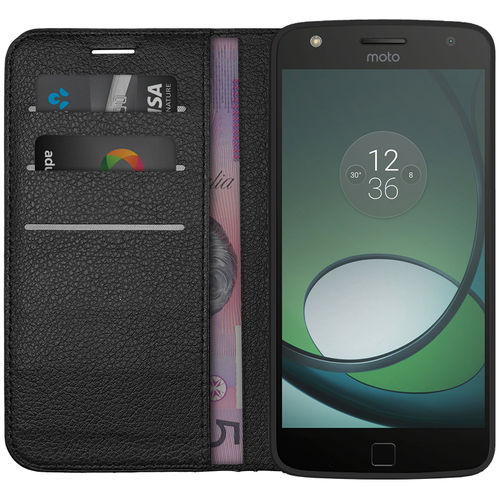Leather Wallet Case & Card Holder Pouch for Motorola Moto Z Play - Black