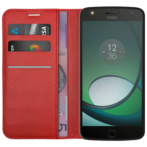 Leather Wallet Case & Card Holder Pouch for Motorola Moto Z Play - Red