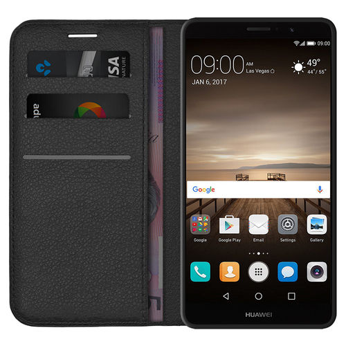 Leather Wallet Case & Card Holder Pouch for Huawei Mate 9 - Black