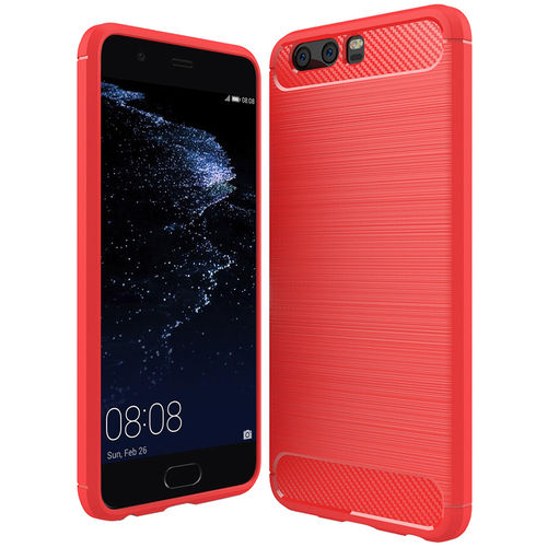 Flexi Slim Carbon Fibre Case for Huawei P10 Plus - Brushed Red