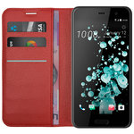 Leather Wallet Case & Card Holder Pouch for HTC U Play - Red