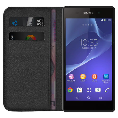 Leather Wallet Case & Card Holder Pouch for Sony Xperia Z2 - Black