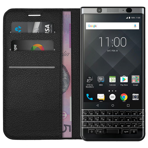 Leather Wallet Case & Card Holder Pouch for BlackBerry KEYone - Black