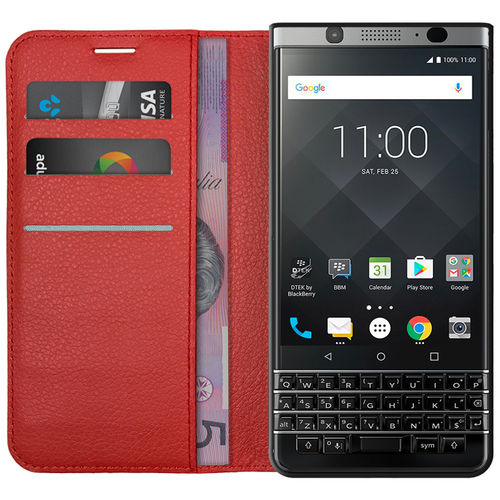 Leather Wallet Case & Card Holder Pouch for BlackBerry KEYone - Red