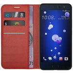 Leather Wallet Case & Card Holder Pouch for HTC U11 - Red