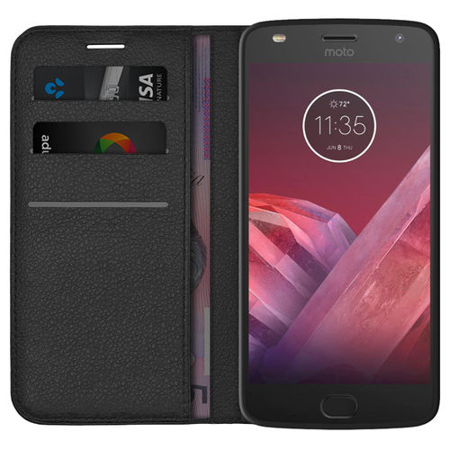 Leather Wallet Case & Card Holder Pouch for Motorola Moto Z2 Play - Black