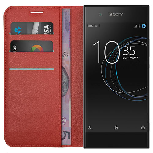 Leather Wallet Case & Card Holder Pouch for Sony Xperia XA1 - Red