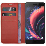 Leather Wallet Case & Card Holder Pouch for HTC One X10 - Red