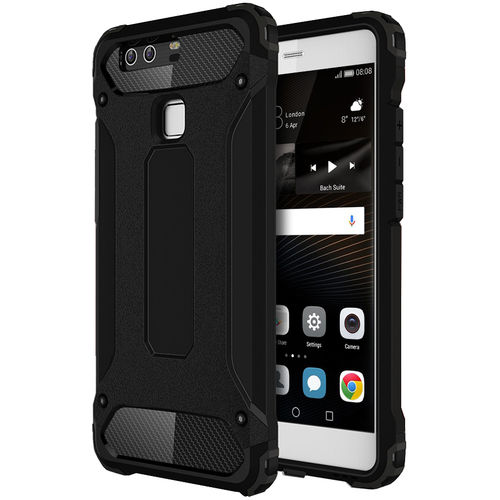 Military Defender Tough Shockproof Hard Case for Huawei P9 - Black