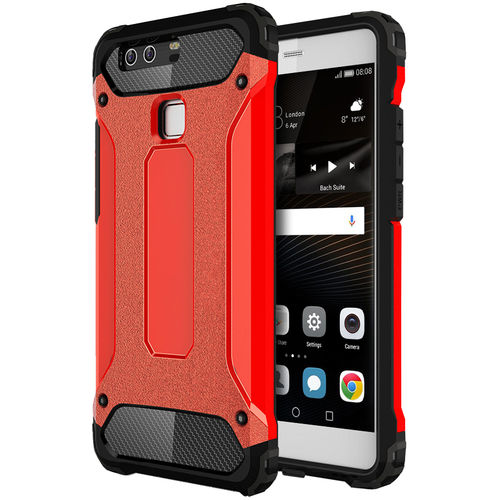 Military Defender Tough Shockproof Hard Case for Huawei P9 - Red