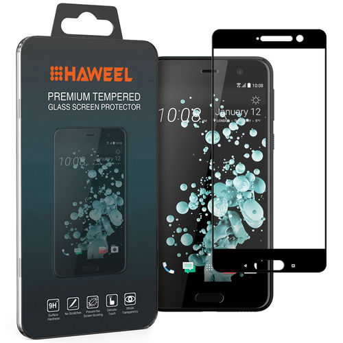 Full Coverage Tempered Glass Screen Protector for HTC U Play - Black