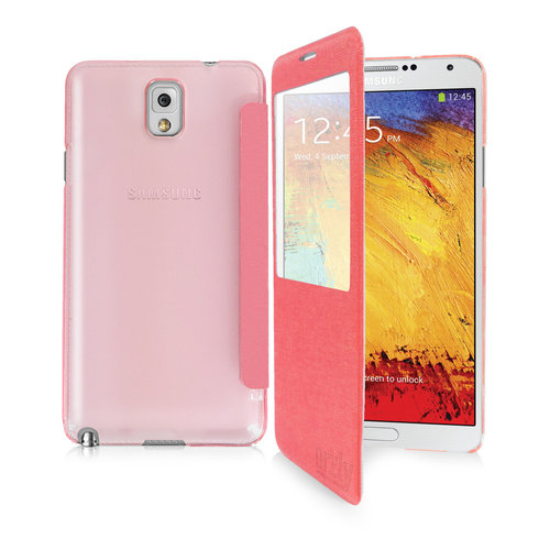 Orzly Display Window Flip Case for Samsung Galaxy Note 3 - Pink