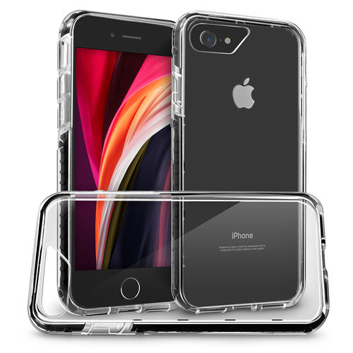 Orzly Fusion Frame Bumper Case for Apple iPhone 8 / 7 / SE (2nd Gen) - Black / Clear