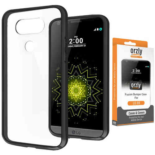 Orzly Fusion Frame Protective Bumper Case for LG G5 - Black (Clear)