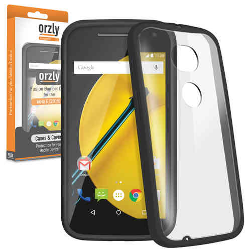 Orzly Fusion Bumper Case for Motorola Moto E (2nd Gen) - Black / Clear