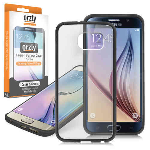 Orzly Fusion Bumper Case for Samsung Galaxy S6 Edge - Black / Clear