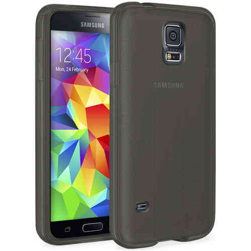 Orzly Flexi Gel Case for Samsung Galaxy S5 - Smoke Black (Gloss)