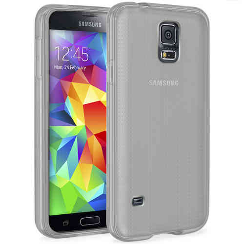 Orzly Flexi Gel Case for Samsung Galaxy S5 - Smoke White (Gloss)