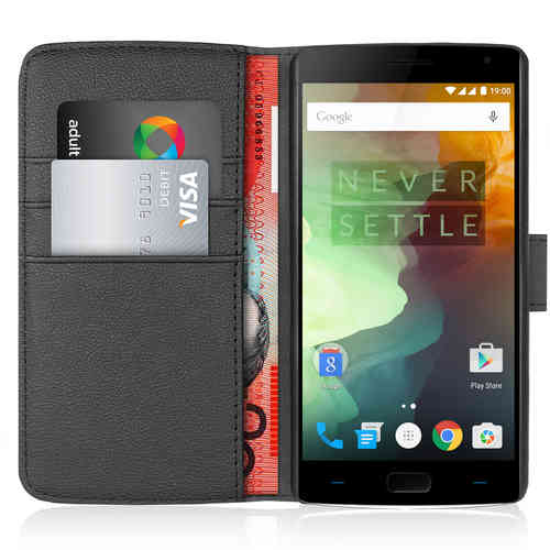 Orzly Leather Wallet Case & Card Holder Pouch for OnePlus 2 - Black