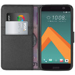 Orzly Leather Wallet Case & Stand for HTC 10 - Black