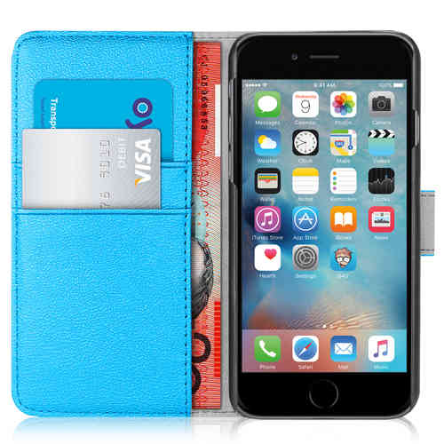 Orzly Leather Wallet Case for Apple iPhone 6 Plus / 6s Plus - Blue