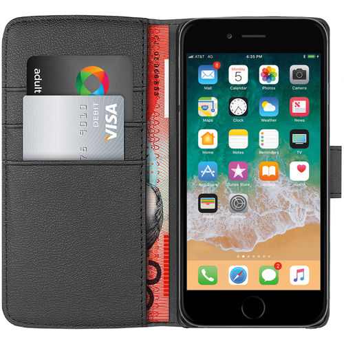 Orzly Leather Wallet Case for Apple iPhone 8 Plus / 7 Plus - Black