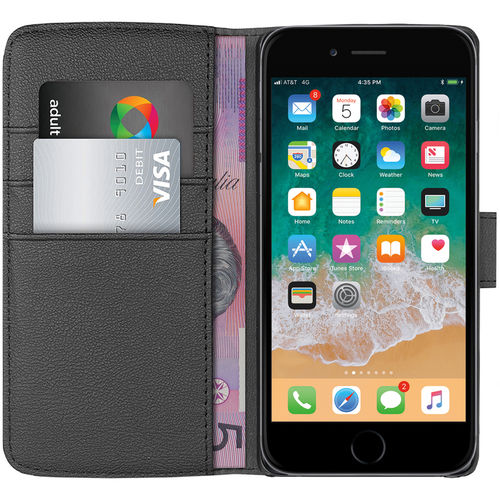 Orzly Leather Wallet Case & Card Holder Pouch for Apple iPhone 8 / 7 - Black