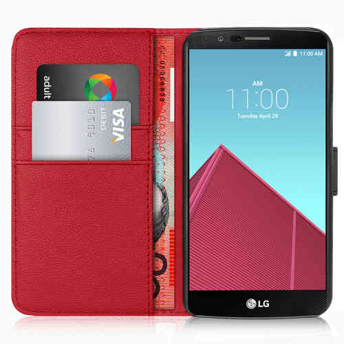 Orzly Leather Wallet Case & Card Holder Pouch for LG G4 - Red