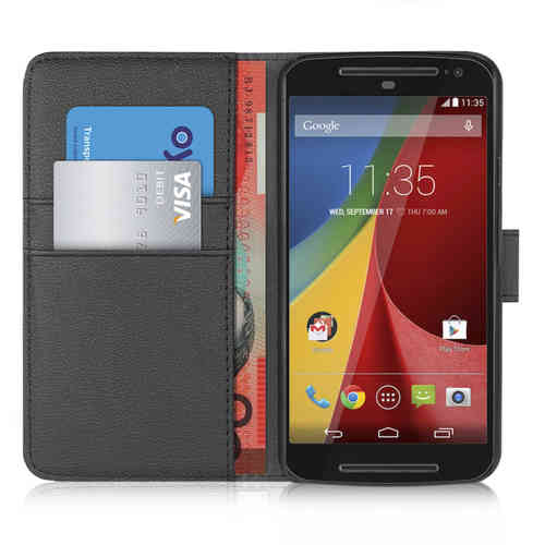Orzly Leather Wallet Case & Card Pouch for Motorola Moto G (2nd Gen) - Black