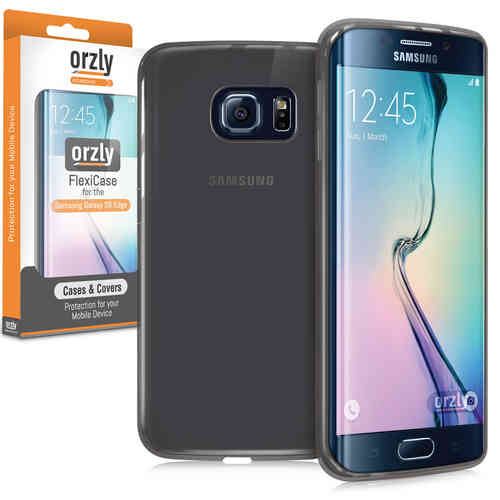 Orzly Flexi Case for Samsung Galaxy S6 Edge - Smoke Black (Gloss)