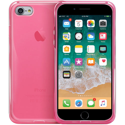 Orzly Flexi Gel Crystal Case for Apple iPhone 8 / 7 - Fluro Pink
