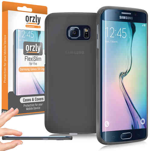 Orzly Flexi Slim Case for Samsung Galaxy S6 Edge - Smoke Black (Matte)