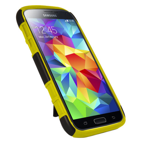 Orzly Dual Layer Tough Shockproof Case for Samsung Galaxy S5 - Yellow