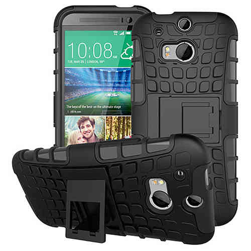 Dual Layer Rugged Tough Shockproof Case for HTC One M8 - Black