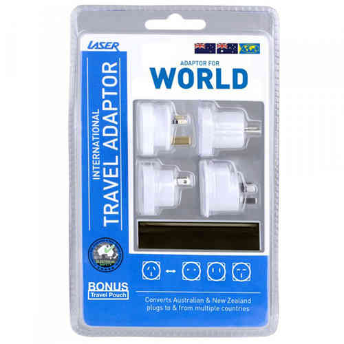 Laser (4-Pack) International World Travel Adaptor Plug & Carry Pouch