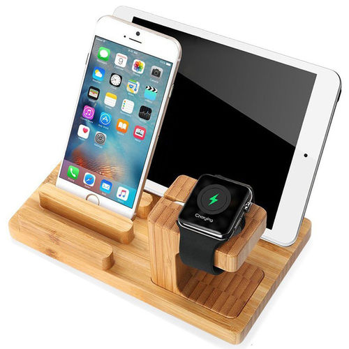 Bamboo Display Stand & Charging Holder for Apple Watch / iPhone / iPad