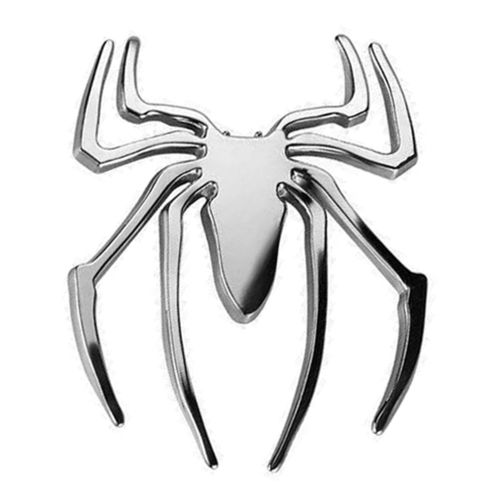 Spider-Man Superhero Logo Car Vehicle Chrome Badge - Silver