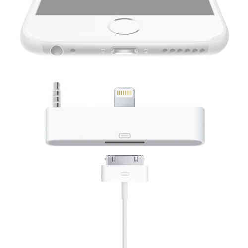 Lightning to 30-pin Audio Adapter for iPhone 6 Plus / 6s Plus - White