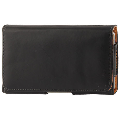 Executive XL Horizontal Leather Pouch & Belt Clip Case for Mobile Phone
